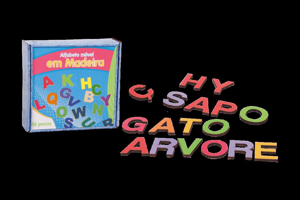Conjunto alfabeto móvel em MDF