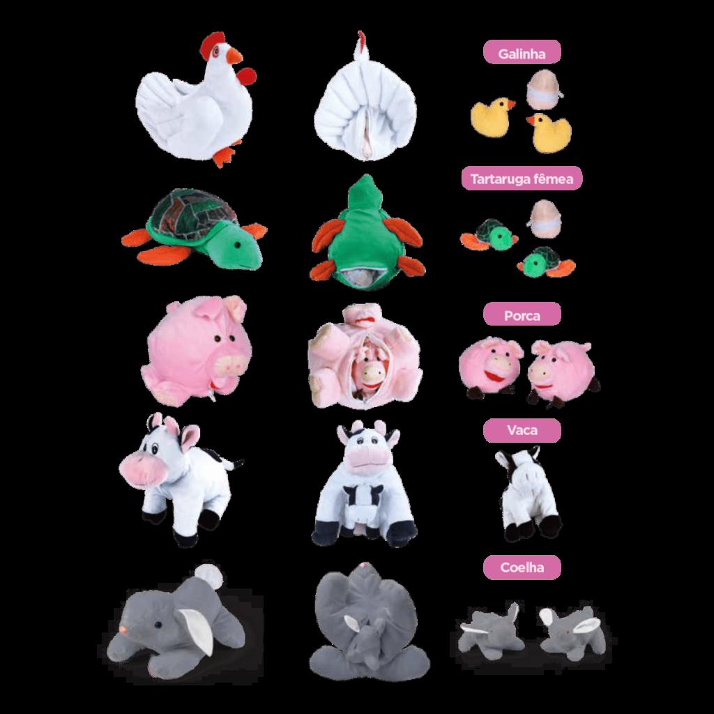 Conjunto animais com filhotes