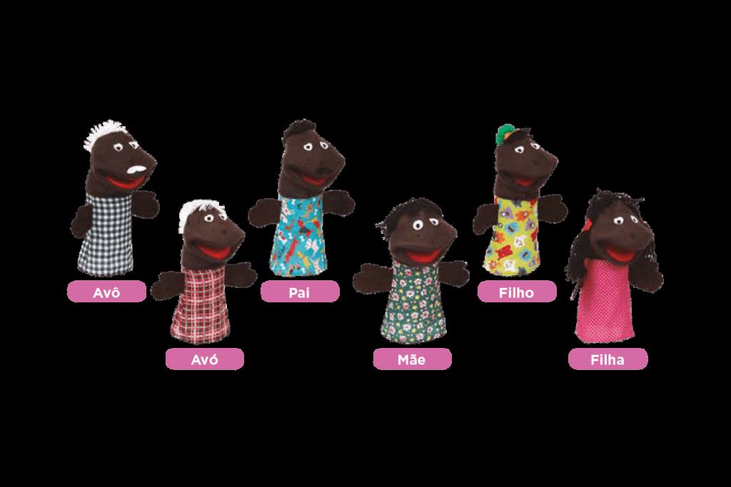 Conjunto fantoches família negra
