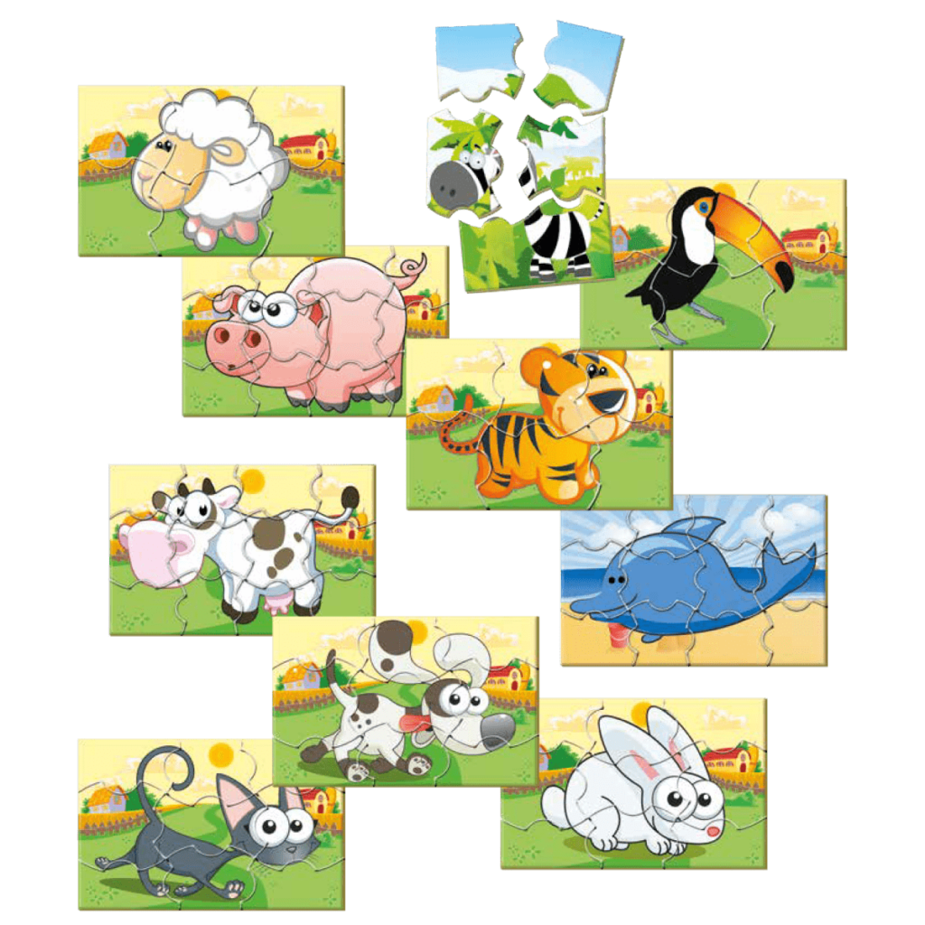 Conjunto quebra-cabeça animais
