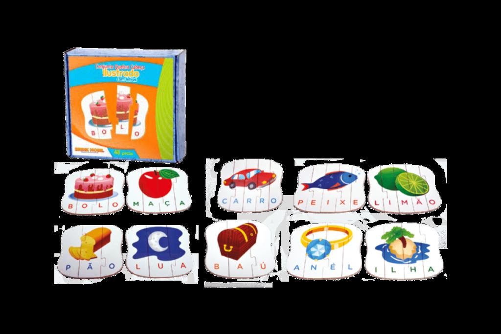 Conjunto quebra-cabeça ilustrado com letras