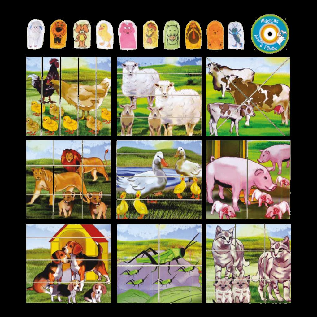 Conjunto quebra-cabeças animais e filhotes