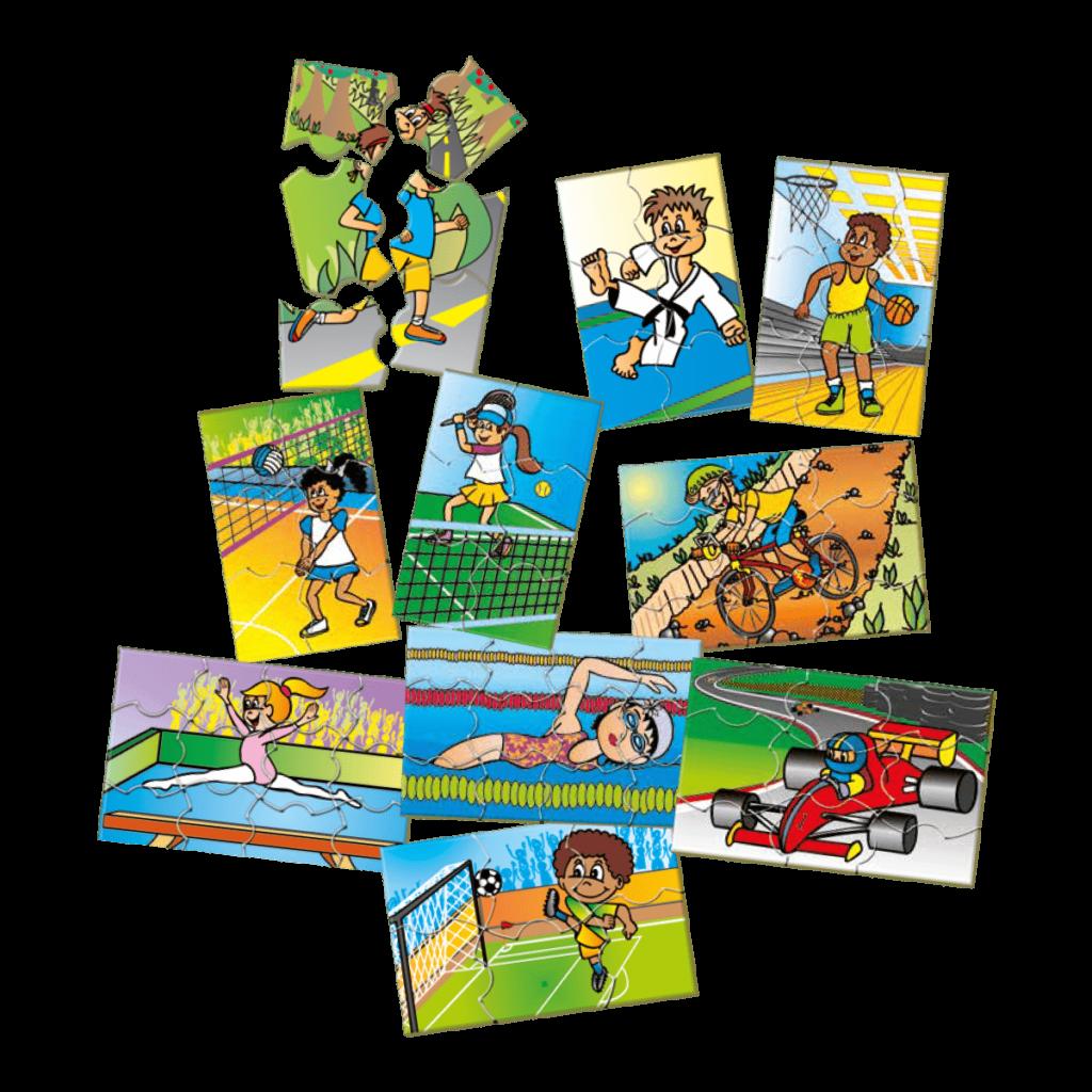 Conjunto quebra-cabeças de atividades esportivas