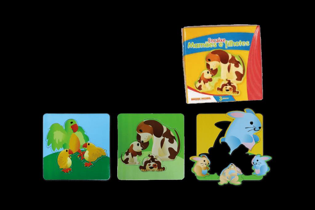 Conjunto quebra-cabeças mamãe e filhotes