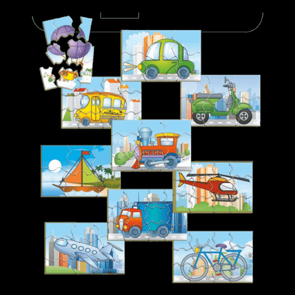 Conjunto quebra-cabeças meios de transporte