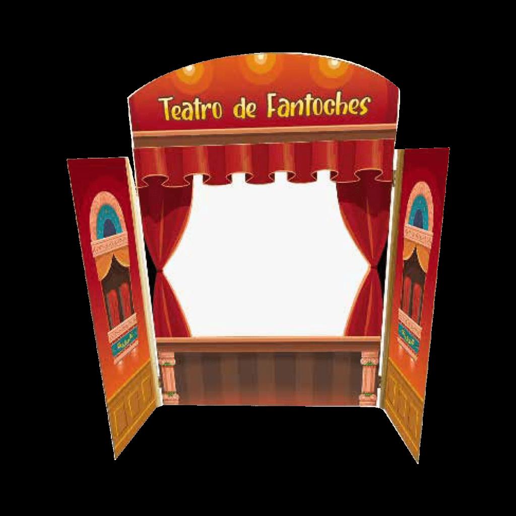 Teatro de fantoches em madeira